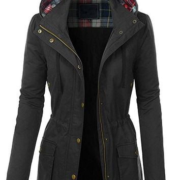 FASHION BOOMY Womens Zip Up Military Anorak Jacket W/Hood (Plus Size)