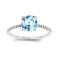 14k White Gold Diamond And Square Cushion Blue Topaz Ring
