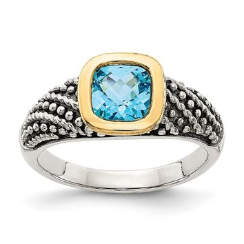 Sterling Silver Two Tone Silver And Gold Plated Sterling Silver w/Lt Swiss Blue Topaz Ring