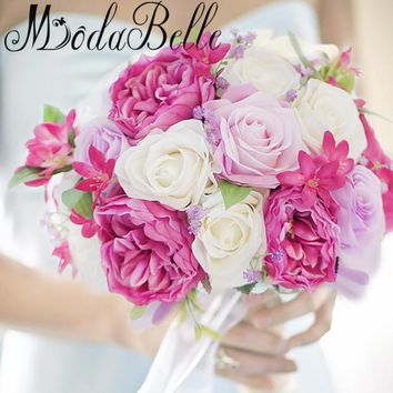 Modabelle 2017 Western Style Wedding Flowers Bridal Bouquets Artificial Brides Wedding Bouquets White Pink Lace Brooch Bouquet