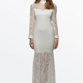 VONE05F8 White Hollow Out Lace Women's Maxi Dress (Plus Size Available)