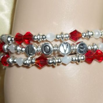 """Heart """"Love"""" Cross Red Glass & Moonstone Silver Hand Crafted Wrap Bracelet"""
