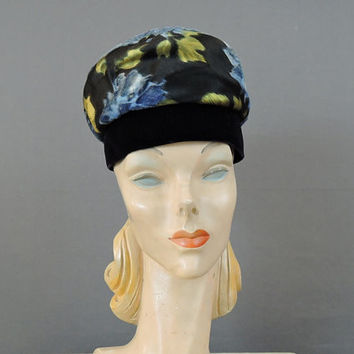 1960s Floral Hat, Silk & Velvet, 21 inch head, by Consuelo Original, Vintage Fabric Hat