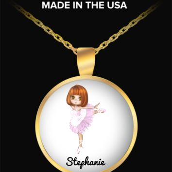Ballerina Necklace for Girls: Personalized Girl Jewelry - Cute Gift For Kids - Inspirational Gold Plated Round Necklace for Dancing Fans - Christmas Dance Jewelry & Holiday Gift - Beautiful Name Personalised & Customizaed Golden Necklace