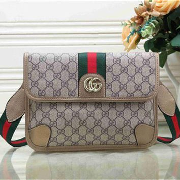 DCCKB62 GUCCI Fashionable Women Shopping Bag Metal GG Stripe Leather Satchel Crossbody Shoulder Bag Apricot I