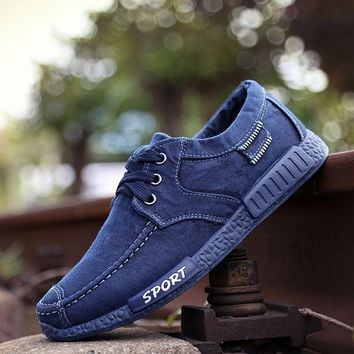 2017 Lace Up Washed Denim Men Fashion Footwear Low Price Breathable Casual Shoes Easy To Match Popular Men Shoes