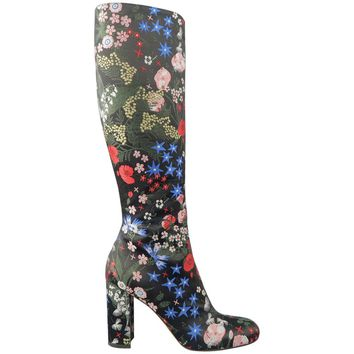 VALENTINO Size 8.5 Black Multi Color Floral Embroidered Satin Knee High Boots