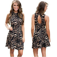 Leopard Print Sleeveless Backless Dress