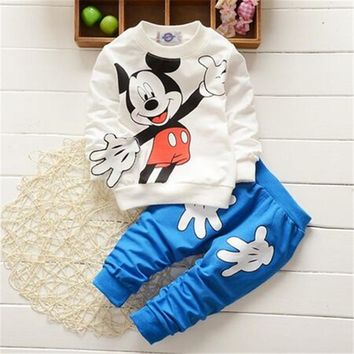 Fashion Style kids Clothes Baby Clothing Sets  Mickey Mouse Cotton long Sleeve 2pcs Boy/Girls Clothes