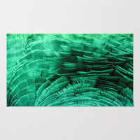 RUFFLED GREEN Area & Throw Rug by Catspaws