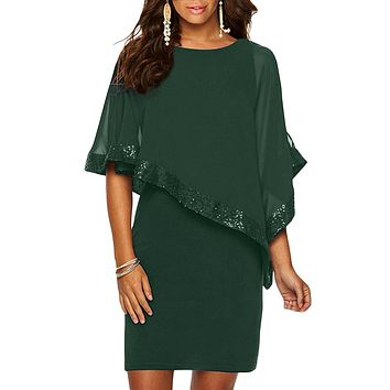 Chic Hunter Green Sequined Poncho Mini Dress