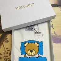 "Moschino Blue ""Bunting Bear"" Fashion Women T Shirt"