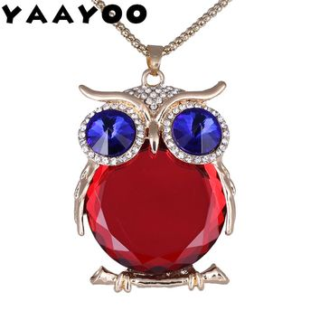 YAAYOO Women Owl Necklace 18 Colors Glass 75cm Long Pendants Chokers Statement Necklaces For Girl Gift Party