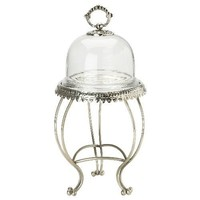 Lisbeth Dahl Cake Stand with Glass Dome and Silver Decoration