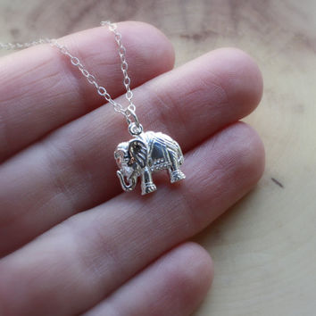 Silver Elephant Necklace - Indian Elephant Charm . Tiny Silver Elephant Pendant . Yoga Jewelry . Gifts for Her . Elephant Jewelry