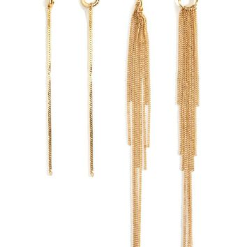 Cutout Hoop Duster Earring Set