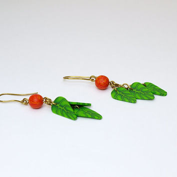 Dangle Green Leaves Cascade Earring with Orange Bead