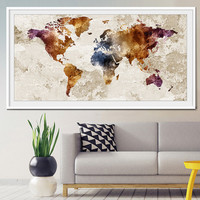World map wall art, World map poster, world map art, world map painting, world map vintage, Wall Art Print, Decor,Print, Poster,Painting-x32