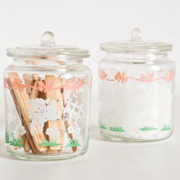Vintage Hazel Atlas Storage Jars, Lamb Print Baby's Room Glass Containers, Cotton Balls Swabs, Pink and Mint Green