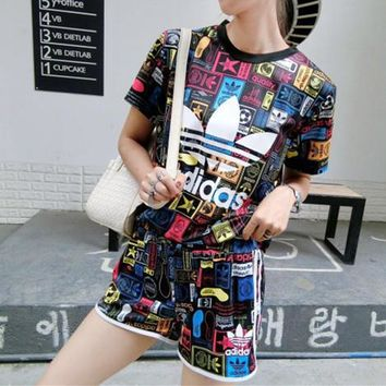 """Adidas"" Women Fashion Casual Multicolor Pattern Print Short Sleeve Shorts Set Two-Pie"