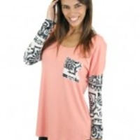 Coral Top With Printed Sleeves