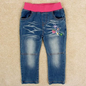 girls pants baby jeans girls clothes children pants embroidery lovely flower nova kids clothing girls jeans in winter G5103