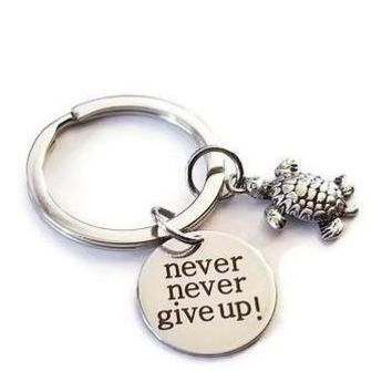 Never Never Give Up & Turtle Key Chain