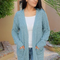Charm Me Blue Chunky Knit Long Open Cardigan Sweater