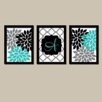 Turquoise Black Wall Art, Girl Monogram Flower Decor, Family Initial Wedding Gift Decor, Bedroom Wall Decor, CANVAS or Prints, Set of 3