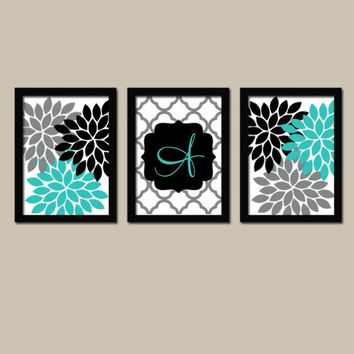 Turquoise Black Wall Art, Girl Monogram Flower Decor, Family Initial Wedding Gift Decor, Bedroom Wall Decor Canvas or Prints Set of 3