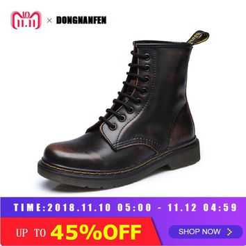 DONGNANFENG 2018 Women Ankle Boots Shoes Winter Autumn Fall Genuine Leather Lace Up Shoes Punk Plus Riding Equestr 35-44 YDL-666