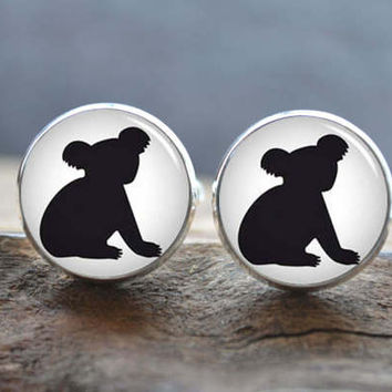 Koala Cufflinks-Australian Koala Cuff Links-Personalized Animal Cufflinks Tie Clip-Men Wedding Groomsmen gift- Cabochon Cufflinks Tie Bar