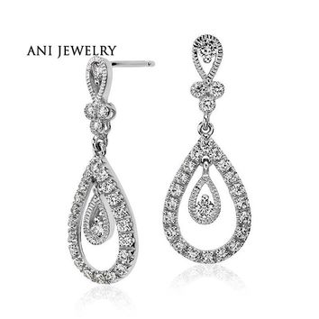 18KT White Gold 0.74 ct Certified I/S1 Real Diamond Drop Earrings