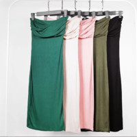 FREE SHIPPING  Spring trim front cross - pleated thread wipe breast vest dress