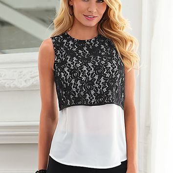 Lace overlay blouse by VENUS