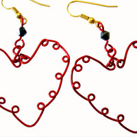 "Red Valentine ""Sweetheart"" Handcrafted Wire Earrings Valentine's Day Gift"