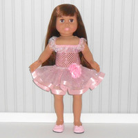 Pink Ballet Costume 18 inch Girl Doll Pink Dance Outfit with Sequin Leotard and Ribbon Tutu American Doll Clothes