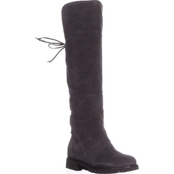 Nine West Mavira Lace Up Over-The-Knee Boots, Dark Grey, 7.5 US
