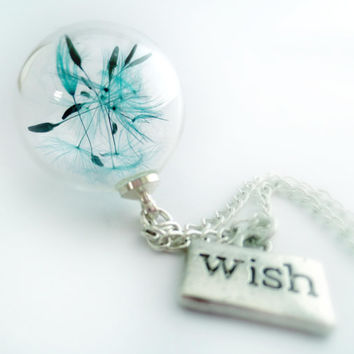 Blue Dandelion Necklace glass blue green Teal dreams : make a wish, seeds, real flowers bridesmaid gift botanical dry glass orb  green blue