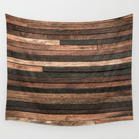 Vintage Wood Plank Wall Tapestry by patternmaker