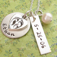 Mother charm Necklace: Handstamped mommy BABY FEET CHARM new mom baby