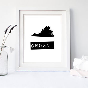 Virginia Grown Home State Print, Custom map, Personalized map, Printable, Digital Download, hometown, typewriter, stamp, VA state typography