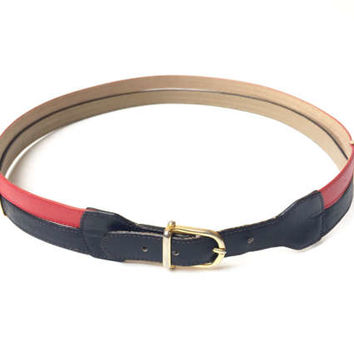 CÉLINE!!! Vintage 1970s 'Celine' red and navy leather belt with gold metal spacers and buckle / Made in Italy
