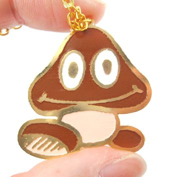 Super Mario Themed Goomba Mushroom World Pendant Necklace | Limited Edition