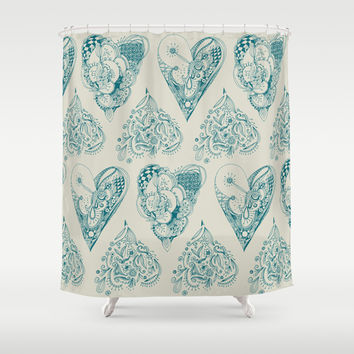 Blue and beige zentangle heart pattern Shower Curtain by /CAM