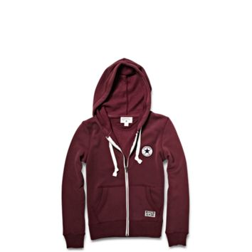 Converse - Women's Chuck Patch Full Zip Hoodie - L/Sleeve - Burgundy