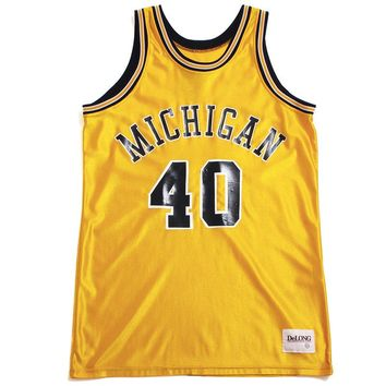 University of Michigan #40 Delong Basketball Jersey Yellow (44 - Large)