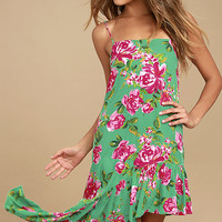 Impressionist's Garden Mint Green Floral Print Midi Dress