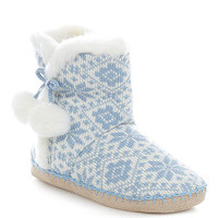 Light Blue Fairisle Knit Boot Slippers
