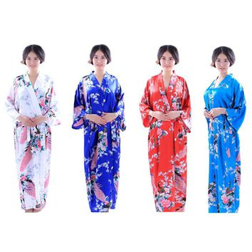 Sexy Japanese Clothing Kimono Traditional Rayon Bathrobes Japan Kimono Flower Yukata Women Bath Robe Floral Sleepwear